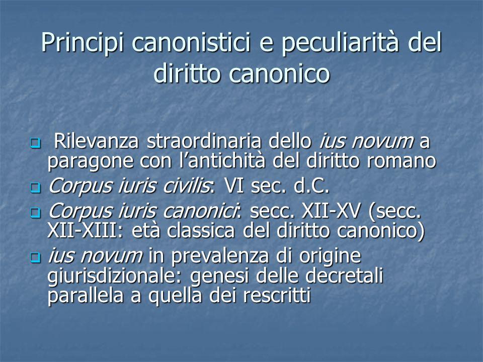 Principi canonistici e peculiarità del diritto canonico Rilevanza straordinaria dello ius novum a paragone con lantichità del diritto romano Rilevanza