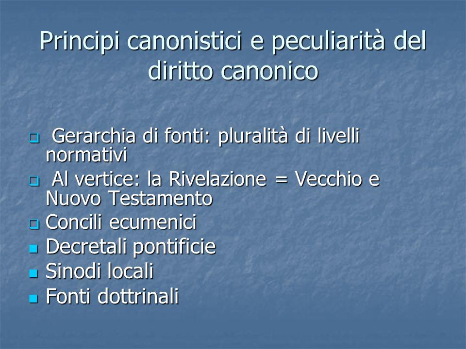 Principi canonistici e peculiarità del diritto canonico Gerarchia di fonti: pluralità di livelli normativi Gerarchia di fonti: pluralità di livelli no