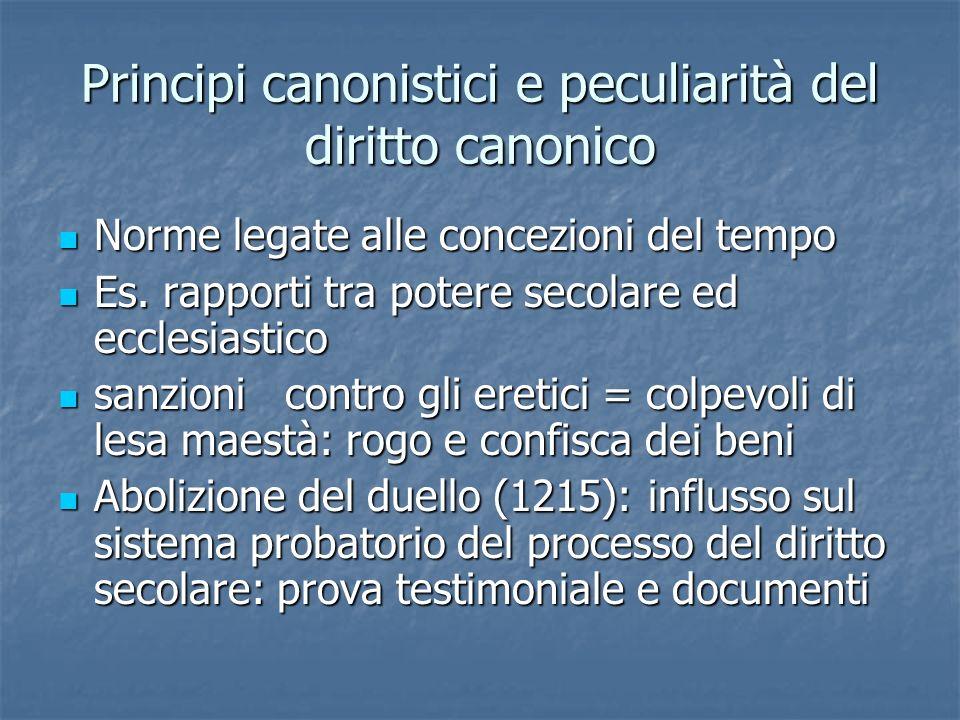 Principi canonistici e peculiarità del diritto canonico Norme legate alle concezioni del tempo Norme legate alle concezioni del tempo Es. rapporti tra