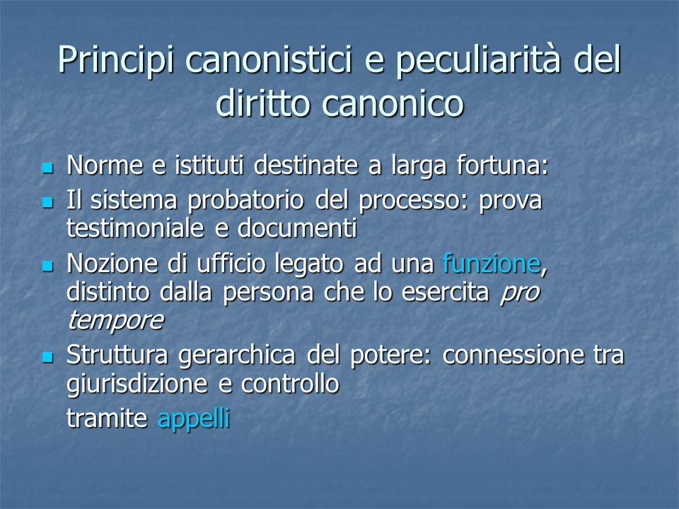 Principi canonistici e peculiarità del diritto canonico Norme e istituti destinate a larga fortuna: Norme e istituti destinate a larga fortuna: Il sis