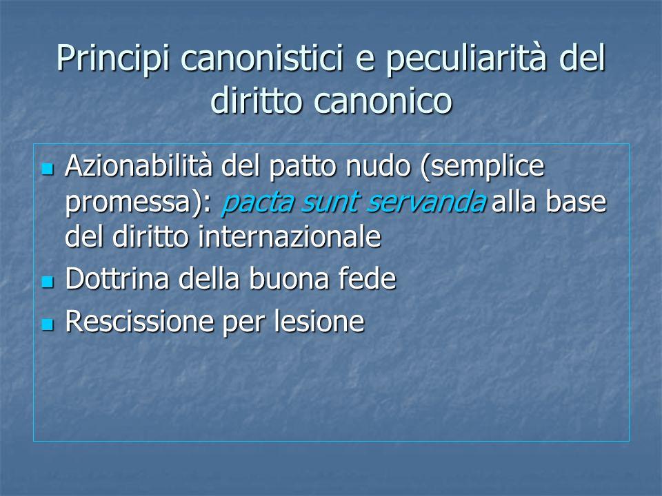 Principi canonistici e peculiarità del diritto canonico Azionabilità del patto nudo (semplice promessa): pacta sunt servanda alla base del diritto int