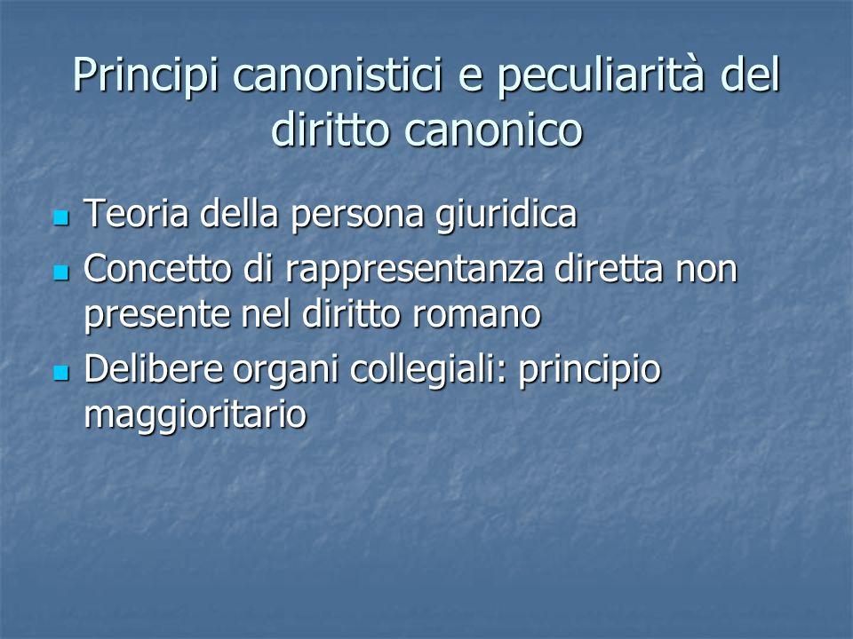 Principi canonistici e peculiarità del diritto canonico Teoria della persona giuridica Teoria della persona giuridica Concetto di rappresentanza diret