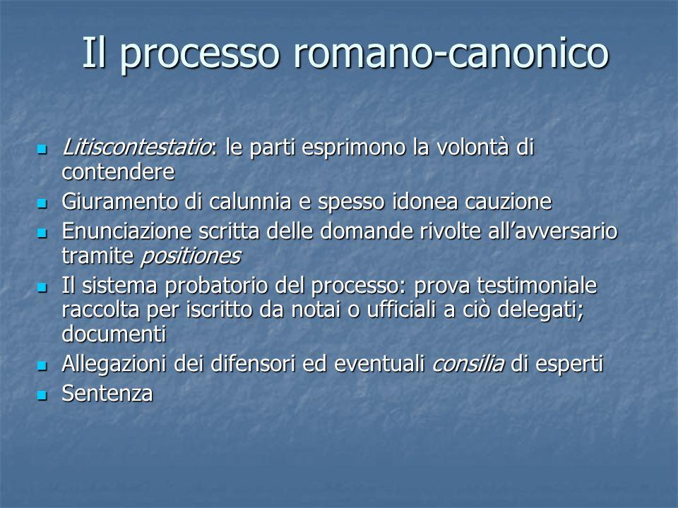 Il processo romano-canonico Litiscontestatio: le parti esprimono la volontà di contendere Litiscontestatio: le parti esprimono la volontà di contender