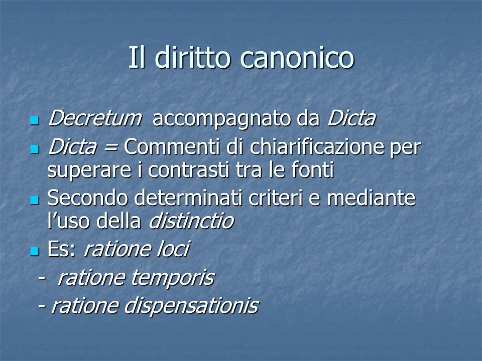 Il diritto canonico Decretum accompagnato da Dicta Decretum accompagnato da Dicta Dicta = Commenti di chiarificazione per superare i contrasti tra le