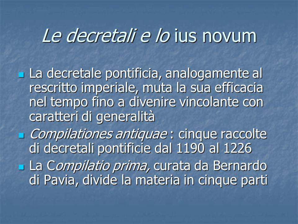 Le decretali e lo ius novum La decretale pontificia, analogamente al rescritto imperiale, muta la sua efficacia nel tempo fino a divenire vincolante c