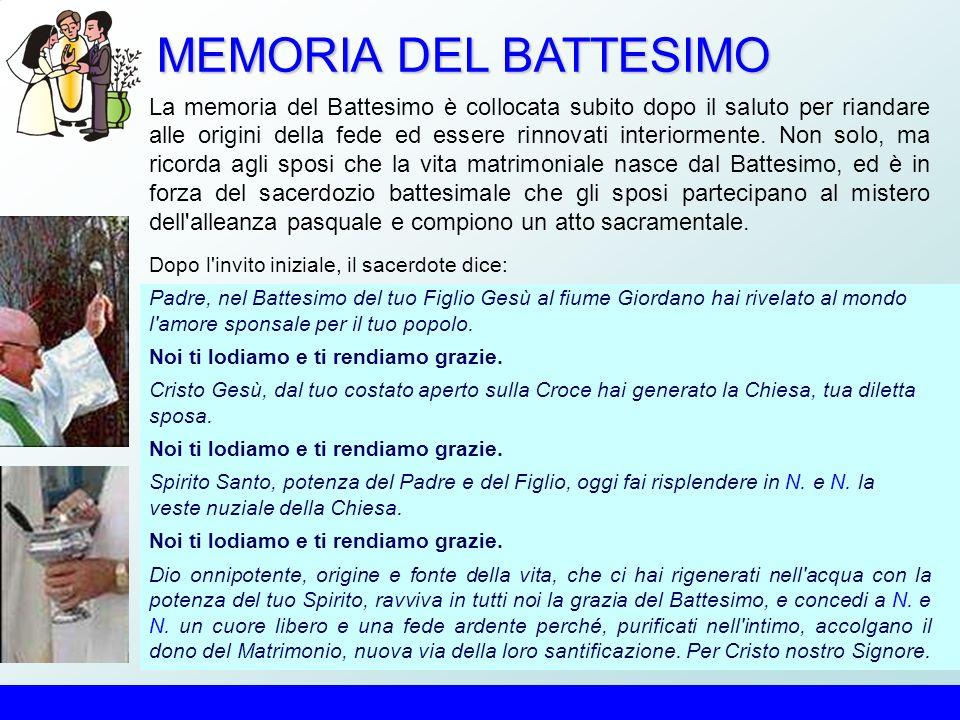 MEMORIA DEL BATTESIMO La memoria del Battesimo è collocata subito dopo il saluto per riandare alle origini della fede ed essere rinnovati interiormente.