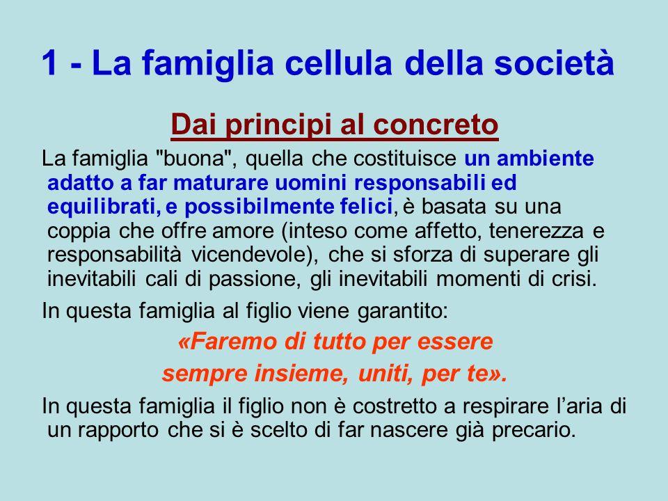 1 - La famiglia cellula della società Dai principi al concreto La famiglia