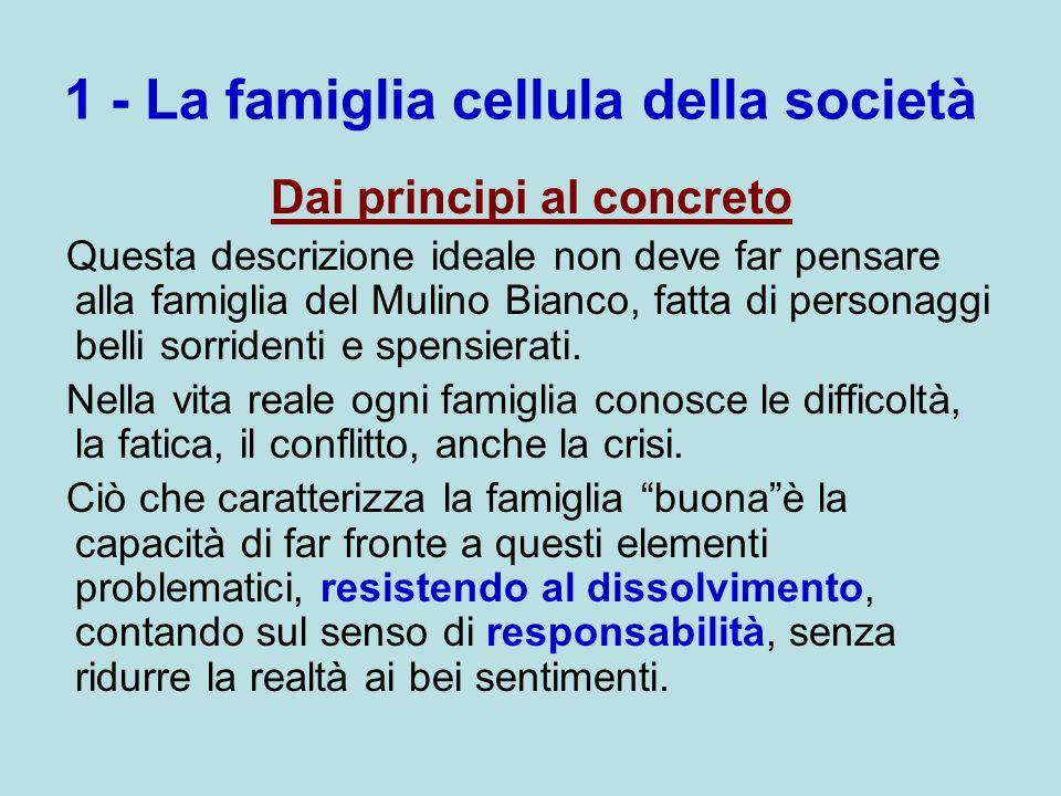 1 - La famiglia cellula della società Dai principi al concreto Questa descrizione ideale non deve far pensare alla famiglia del Mulino Bianco, fatta d