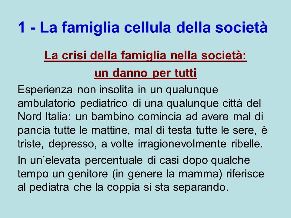 1 - La famiglia cellula della società La crisi della famiglia nella società: un danno per tutti Esperienza non insolita in un qualunque ambulatorio pe