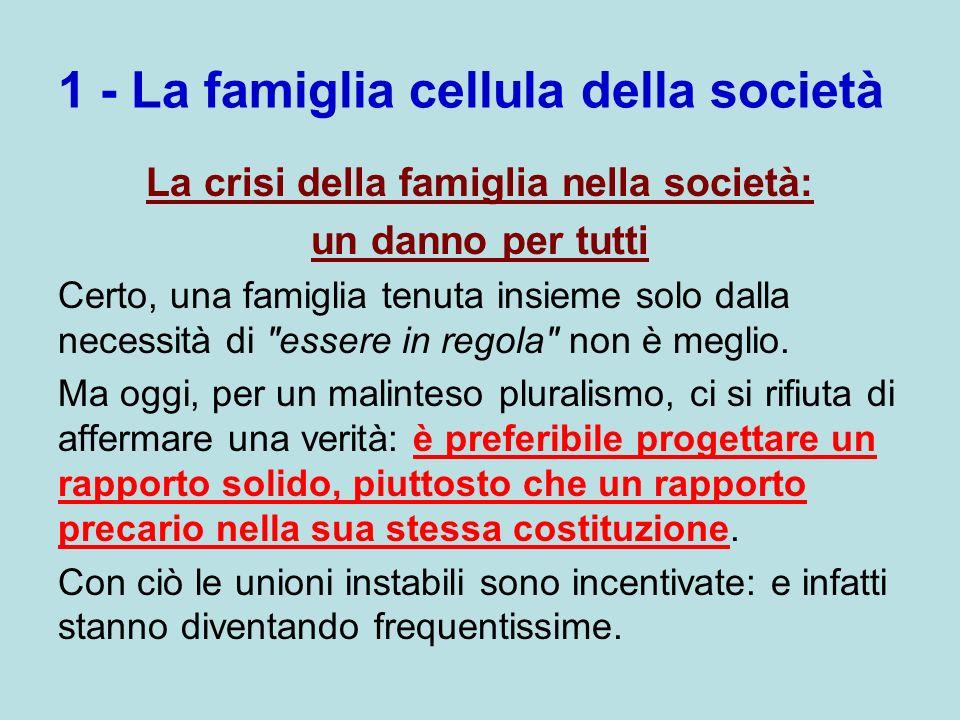 1 - La famiglia cellula della società La crisi della famiglia nella società: un danno per tutti Certo, una famiglia tenuta insieme solo dalla necessit