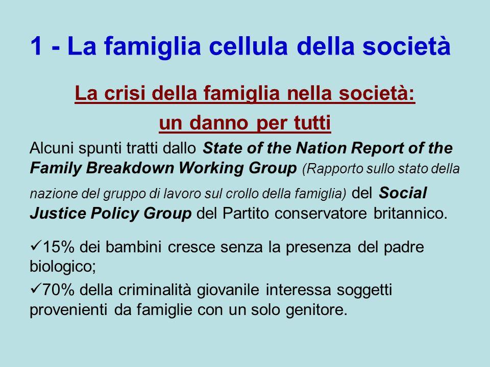 1 - La famiglia cellula della società La crisi della famiglia nella società: un danno per tutti Alcuni spunti tratti dallo State of the Nation Report