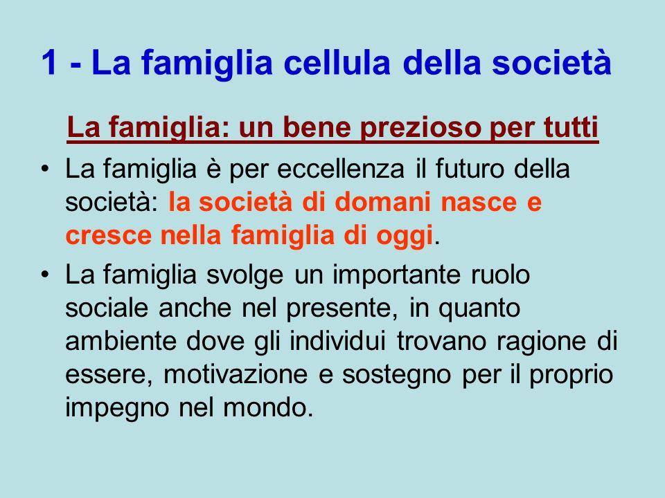 1 - La famiglia cellula della società La famiglia: un bene prezioso per tutti La famiglia è per eccellenza il futuro della società: la società di doma