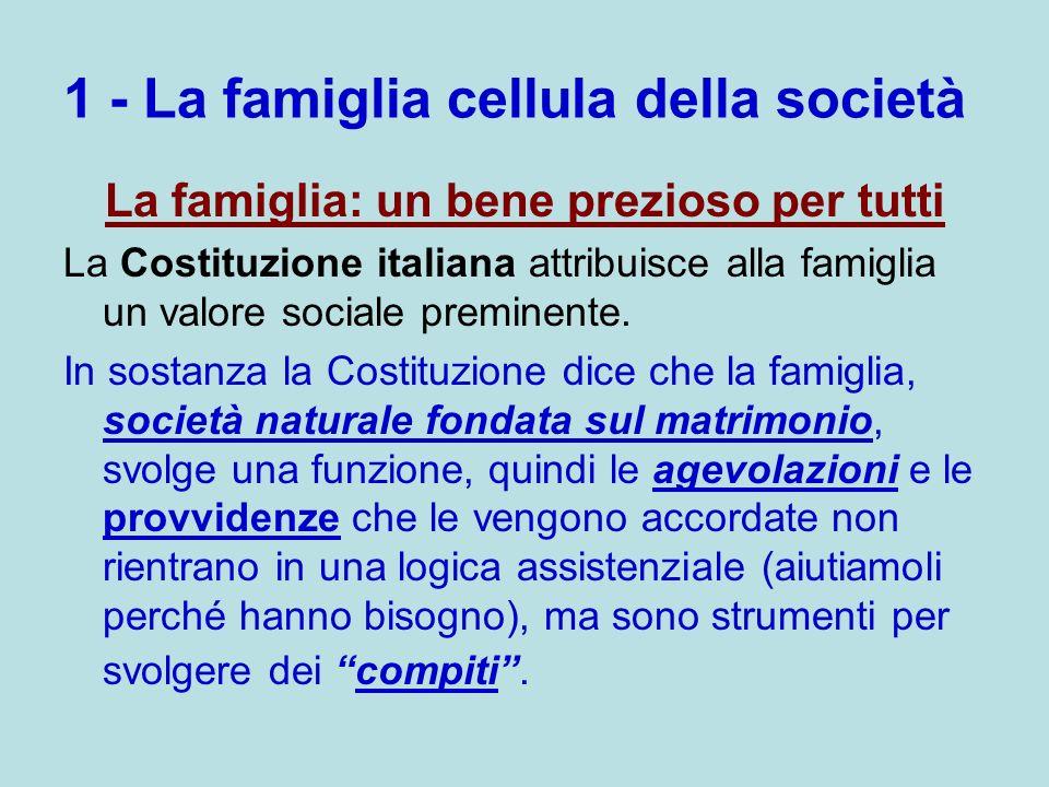 1 - La famiglia cellula della società La famiglia: un bene prezioso per tutti La Costituzione italiana attribuisce alla famiglia un valore sociale pre
