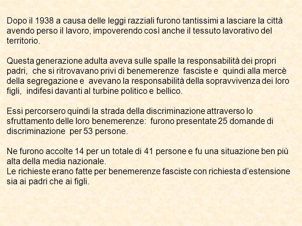 Bice Vivanti, il cui padre non era iscritto al PFN, chiese la discriminazione per sé per benemerenze fasciste, allargandola anche ai familiari, avendo essa ricoperto varie cariche nelle organizzazioni femminili del partito e come bibliotecaria del fascio femminile.