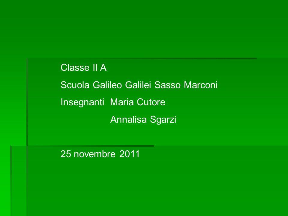 Classe II A Scuola Galileo Galilei Sasso Marconi Insegnanti Maria Cutore Annalisa Sgarzi 25 novembre 2011