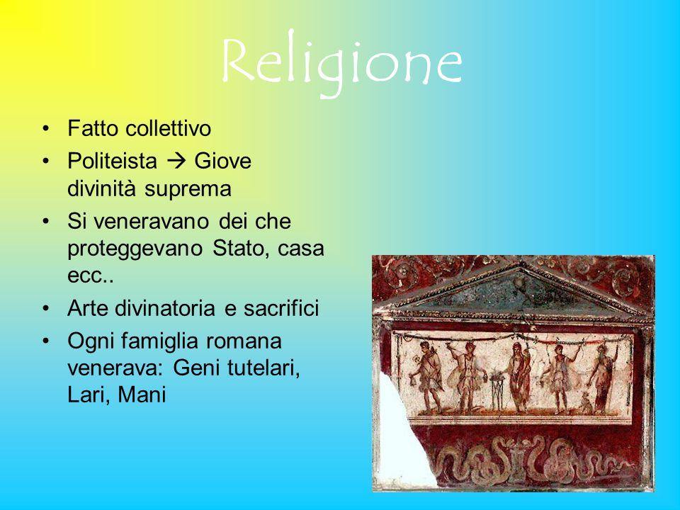 Religione Fatto collettivo Politeista Giove divinità suprema Si veneravano dei che proteggevano Stato, casa ecc.. Arte divinatoria e sacrifici Ogni fa