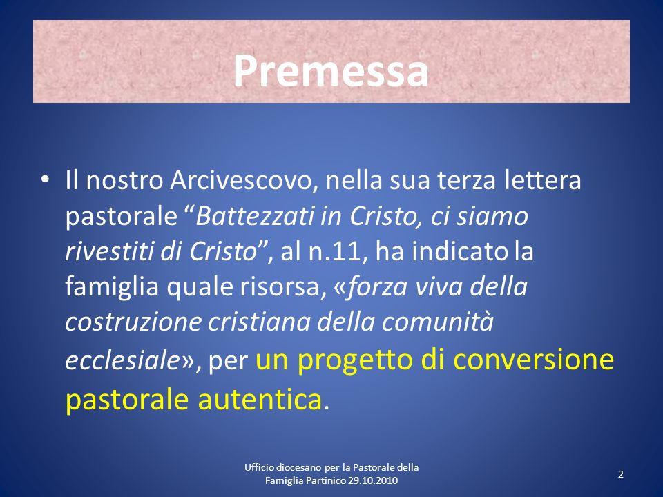 Premessa Il nostro Arcivescovo, nella sua terza lettera pastorale Battezzati in Cristo, ci siamo rivestiti di Cristo, al n.11, ha indicato la famiglia