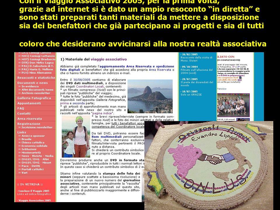 Con il Viaggio Associativo 2005, per la prima volta, grazie ad internet si è dato un ampio resoconto in diretta e sono stati preparati tanti materiali