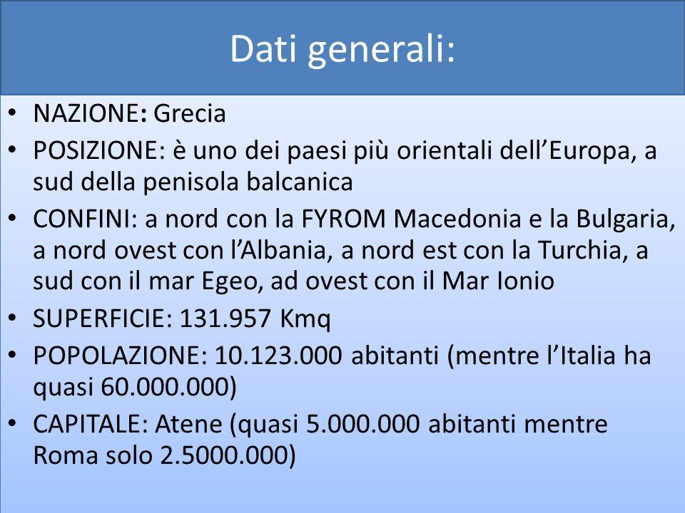 Dati generali: NAZIONE: Grecia POSIZIONE: è uno dei paesi più orientali dellEuropa, a sud della penisola balcanica CONFINI: a nord con la FYROM Macedo