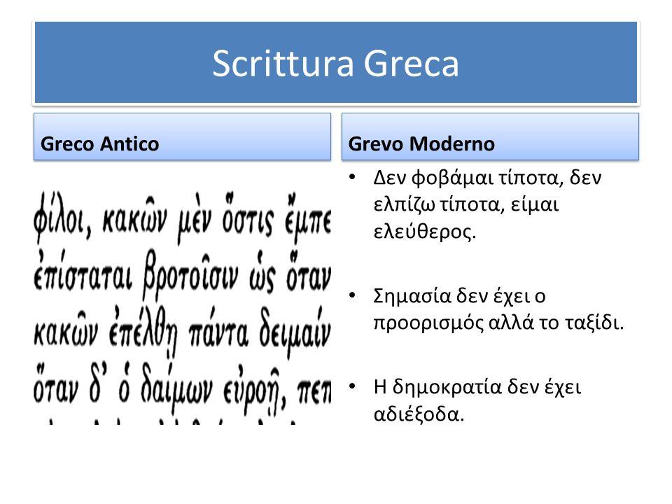 Scrittura Greca Greco Antico Grevo Moderno Δεν φοβάμαι τίποτα, δεν ελπίζω τίποτα, είμαι ελεύθερος. Σημασία δεν έχει ο προορισμός αλλά το ταξίδι. Η δημ