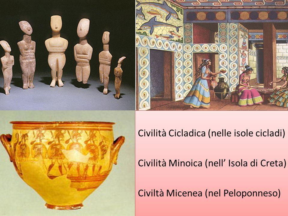 Civilità Cicladica (nelle isole cicladi) Civilità Minoica (nell Isola di Creta) Civiltà Micenea (nel Peloponneso) Civilità Cicladica (nelle isole cicl