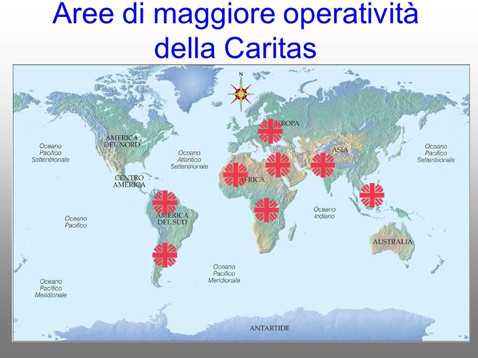 Aree di maggiore operatività della Caritas