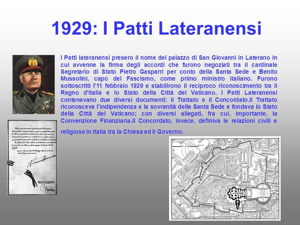1929: I Patti Lateranensi I Patti lateranensi presero il nome del palazzo di San Giovanni in Laterano in cui avvenne la firma degli accordi che furono negoziati tra il cardinale Segretario di Stato Pietro Gasparri per conto della Santa Sede e Benito Mussolini, capo del Fascismo, come primo ministro italiano.