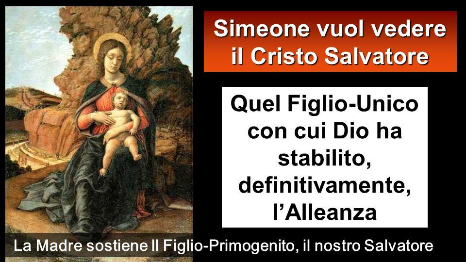 Simeone vuol vedere il Cristo Salvatore Quel Figlio-Unico con cui Dio ha stabilito, definitivamente, lAlleanza La Madre sostiene ll Figlio-Primogenito, il nostro Salvatore