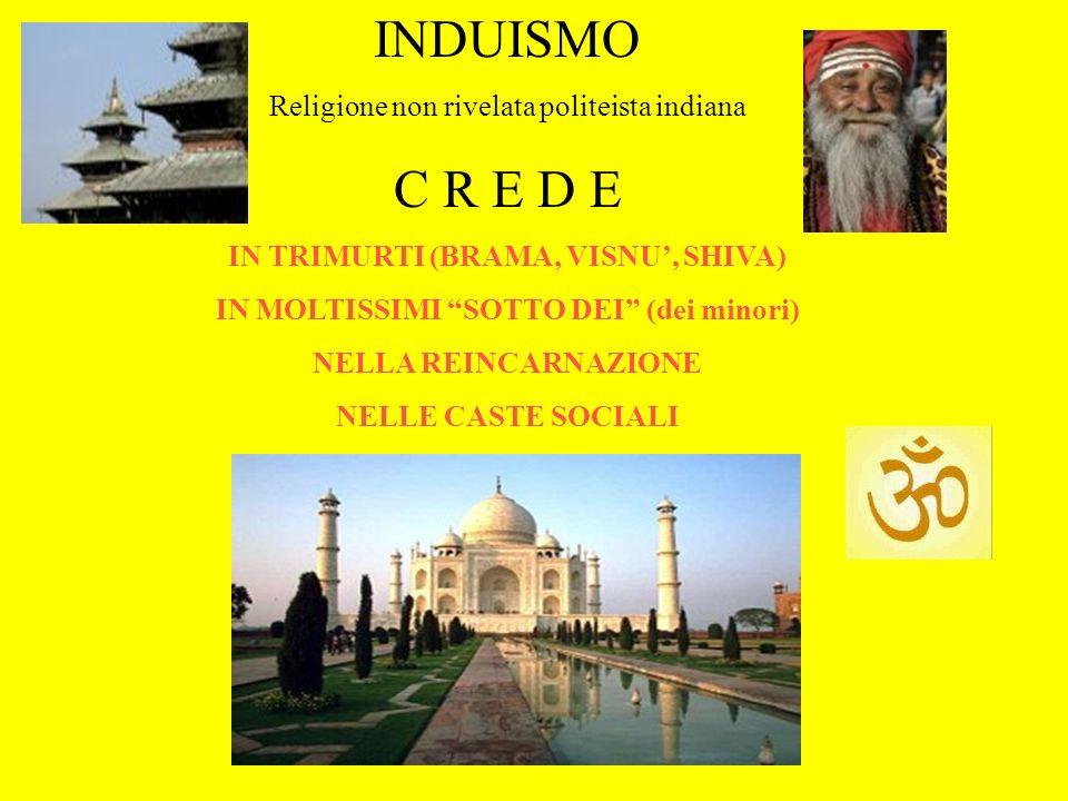 INDUISMO Religione non rivelata politeista indiana C R E D E IN TRIMURTI (BRAMA, VISNU, SHIVA) IN MOLTISSIMI SOTTO DEI (dei minori) NELLA REINCARNAZIO