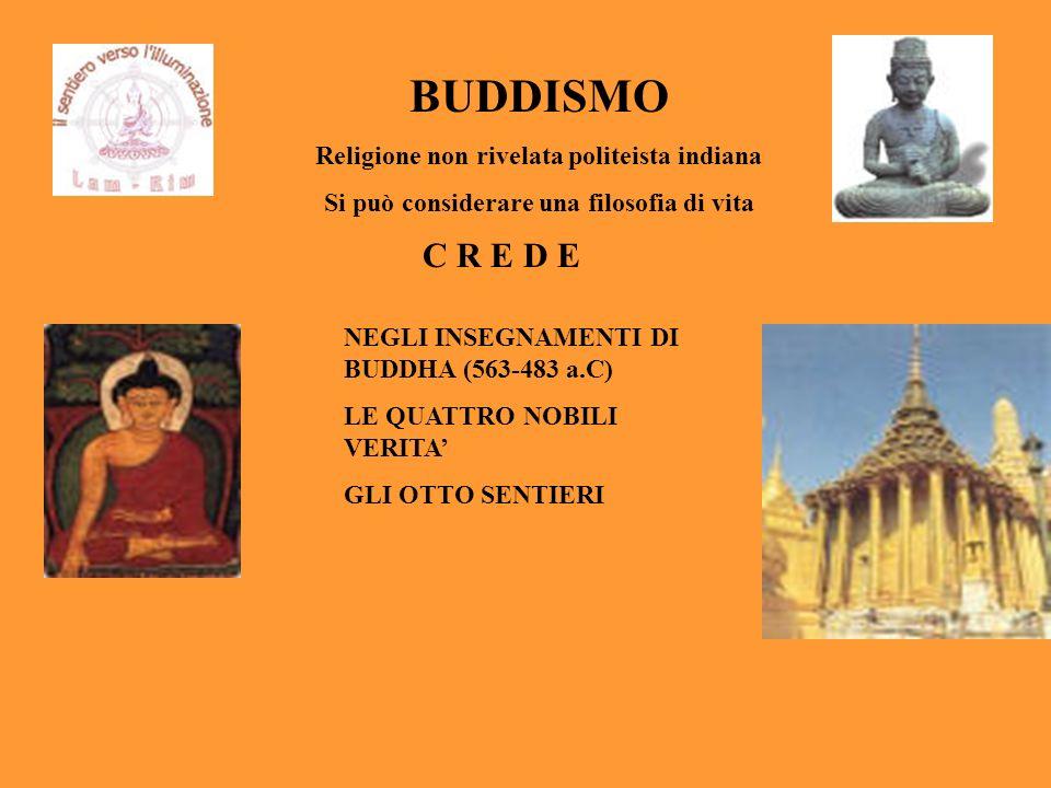 BUDDISMO Religione non rivelata politeista indiana Si può considerare una filosofia di vita C R E D E NEGLI INSEGNAMENTI DI BUDDHA (563-483 a.C) LE QU