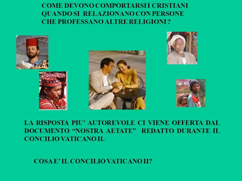 COME DEVONO COMPORTARSI I CRISTIANI QUANDO SI RELAZIONANO CON PERSONE CHE PROFESSANO ALTRE RELIGIONI ? LA RISPOSTA PIU AUTOREVOLE CI VIENE OFFERTA DAL