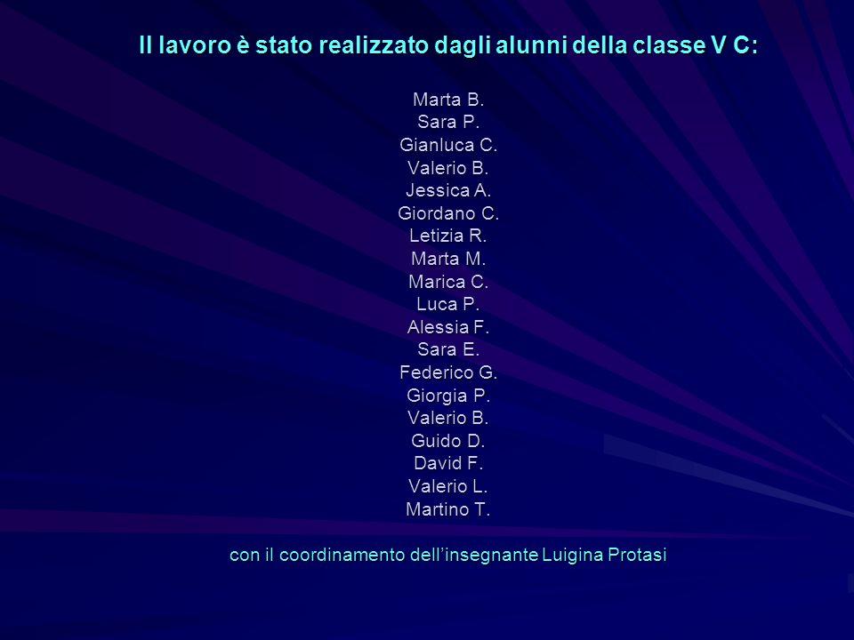 Il lavoro è stato realizzato dagli alunni della classe V C: Marta B. Sara P. Gianluca C. Valerio B. Jessica A. Giordano C. Letizia R. Marta M. Marica