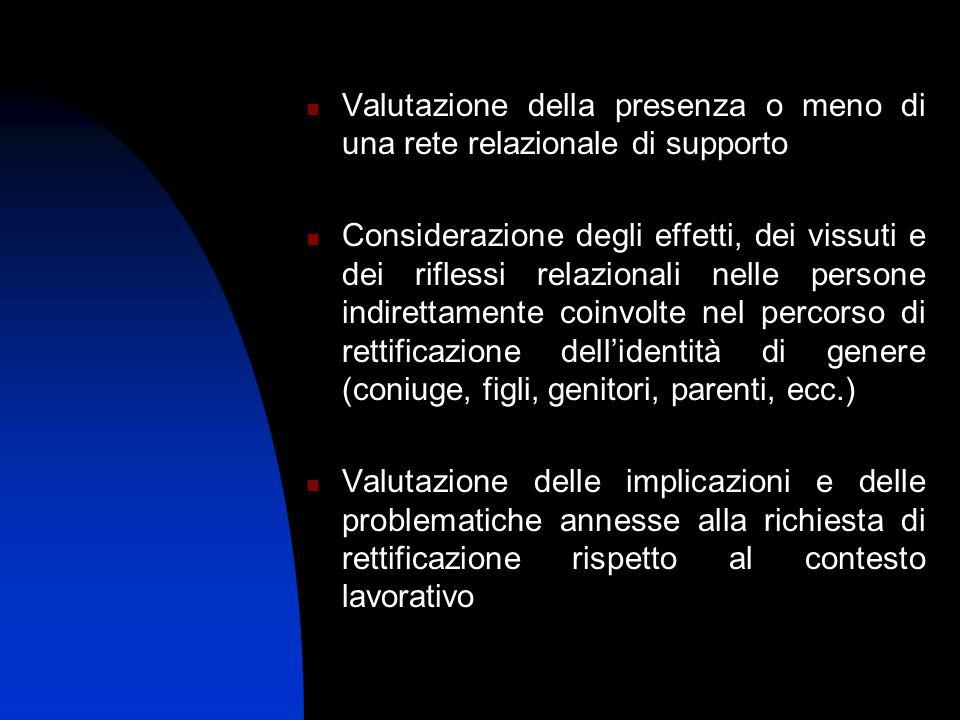 Valutazione della presenza o meno di una rete relazionale di supporto Considerazione degli effetti, dei vissuti e dei riflessi relazionali nelle perso