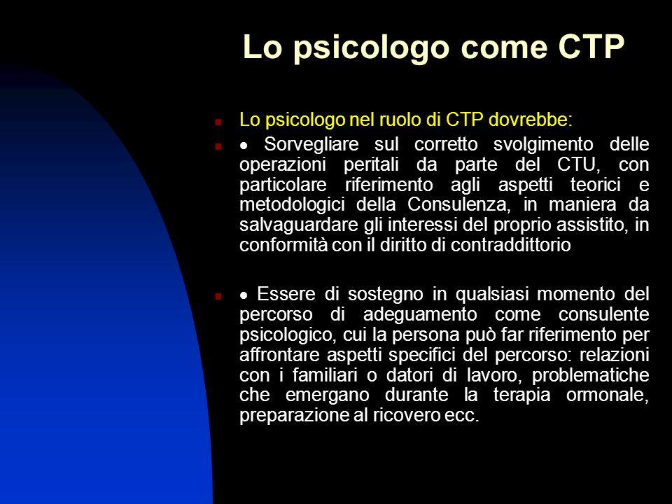 Lo psicologo come CTP Lo psicologo nel ruolo di CTP dovrebbe: Sorvegliare sul corretto svolgimento delle operazioni peritali da parte del CTU, con par