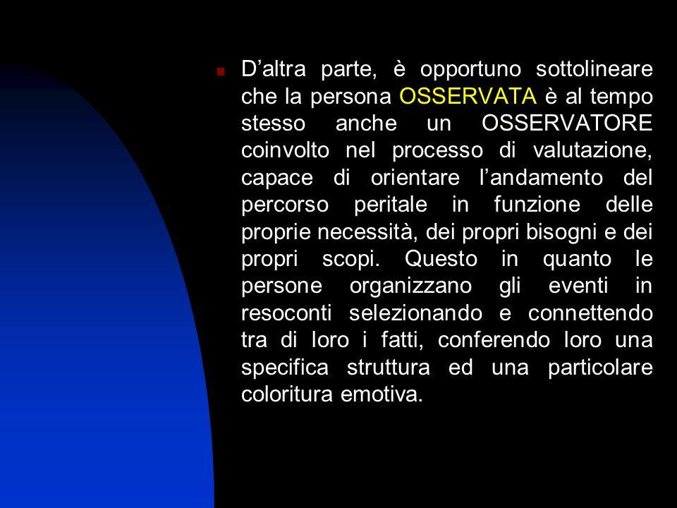 Daltra parte, è opportuno sottolineare che la persona OSSERVATA è al tempo stesso anche un OSSERVATORE coinvolto nel processo di valutazione, capace d