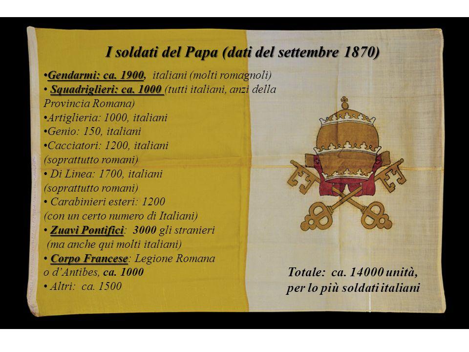 Gli zuavi pontifici ovvero i volontari del papa: Gli zuavi pontifici ovvero i volontari del papa: 1.172 olandesi, 760 francesi, 563 belgi, 297 tra canadesi, inglesi irlandesi, 242 italiani, 86 prussiani, 37 spagnoli, 19 svizzeri, 15 austriaci, 13 bavaresi, 7 russi e polacchi, 5 provenienti dal Baden, 5 degli Stati Uniti, 4 portoghesi, 3 essinai, 3 sassoni, 3 wuttemburghesi, 2 brasiliani, 2 equadoregni, 1 peruviano, 1 greco, 1 monegasco, 1 cileno, 1 ottomano, 1 cinese.