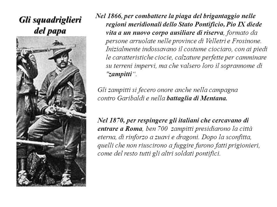 Nel 1866, per combattere la piaga del brigantaggio nelle regioni meridionali dello Stato Pontificio, Pio IX diede vita a un nuovo corpo ausiliare di r