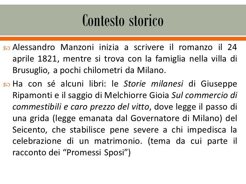 Alessandro Manzoni inizia a scrivere il romanzo il 24 aprile 1821, mentre si trova con la famiglia nella villa di Brusuglio, a pochi chilometri da Milano.