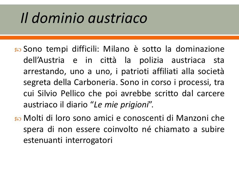 Sono tempi difficili: Milano è sotto la dominazione dellAustria e in città la polizia austriaca sta arrestando, uno a uno, i patrioti affiliati alla società segreta della Carboneria.