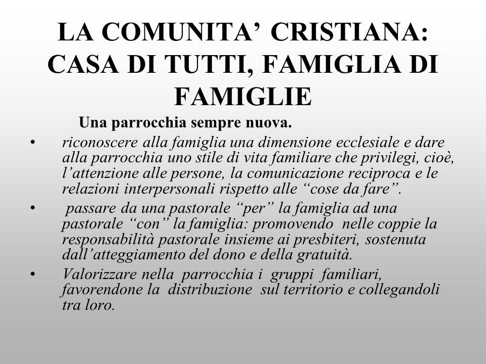 LA COMUNITA CRISTIANA: CASA DI TUTTI, FAMIGLIA DI FAMIGLIE Una parrocchia sempre nuova.