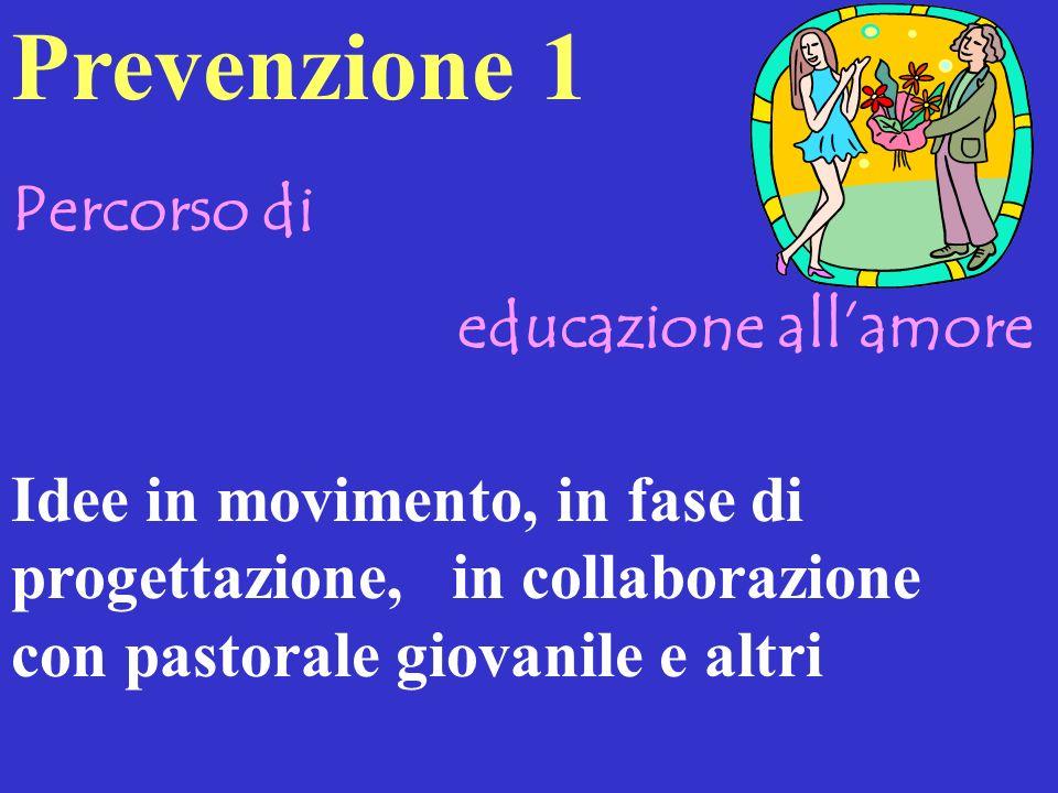 Percorso di educazione allamore Idee in movimento, in fase di progettazione, in collaborazione con pastorale giovanile e altri Prevenzione 1