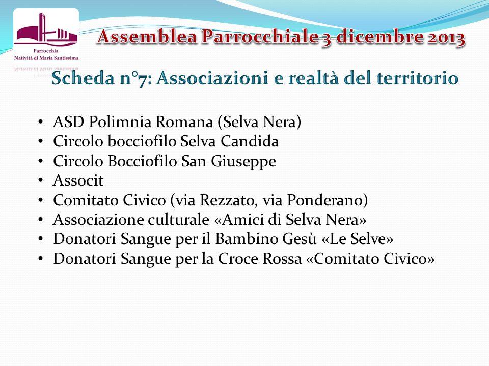 ASD Polimnia Romana (Selva Nera) Circolo bocciofilo Selva Candida Circolo Bocciofilo San Giuseppe Associt Comitato Civico (via Rezzato, via Ponderano)