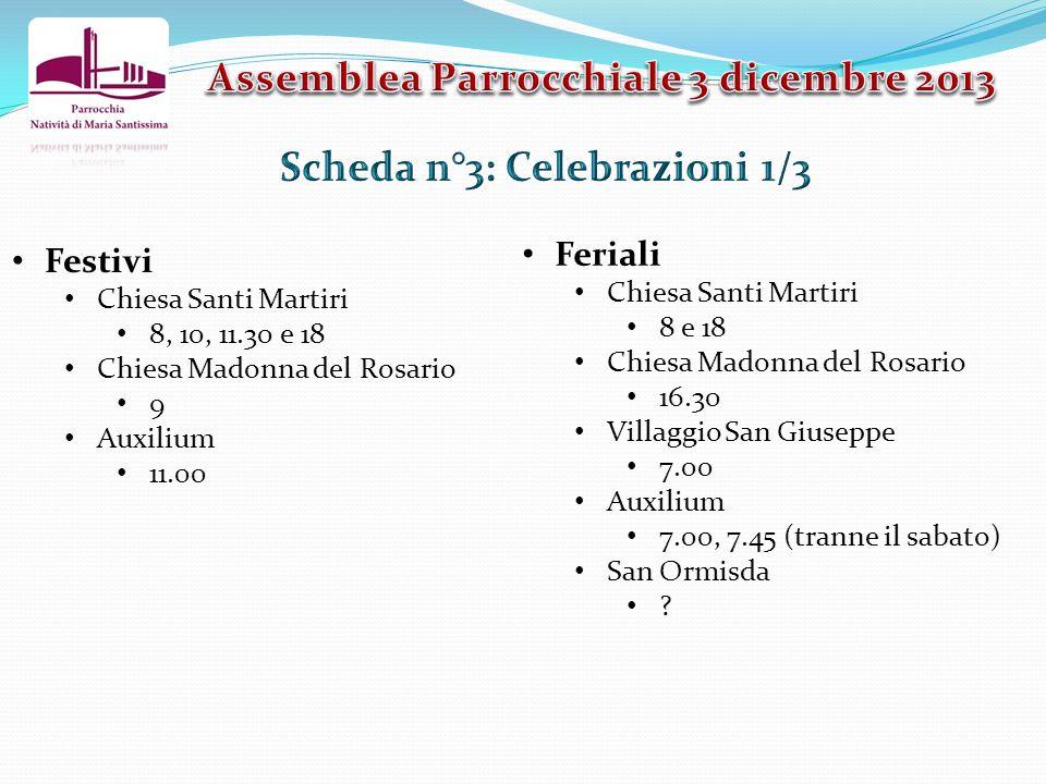 Festivi Chiesa Santi Martiri 8, 10, 11.30 e 18 Chiesa Madonna del Rosario 9 Auxilium 11.00 Feriali Chiesa Santi Martiri 8 e 18 Chiesa Madonna del Rosa