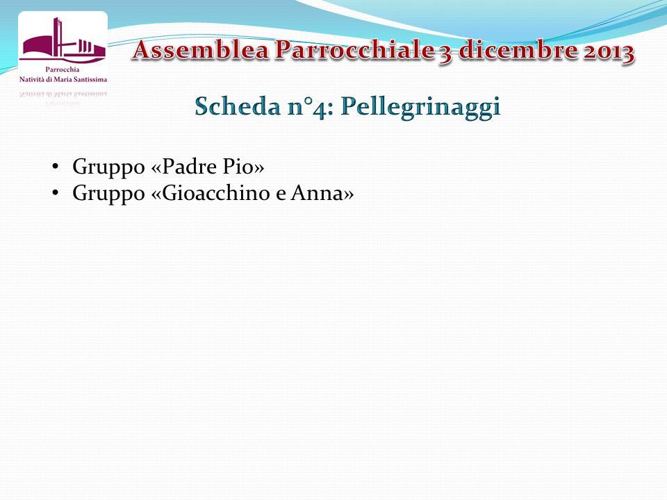 Gruppo «Padre Pio» Gruppo «Gioacchino e Anna»