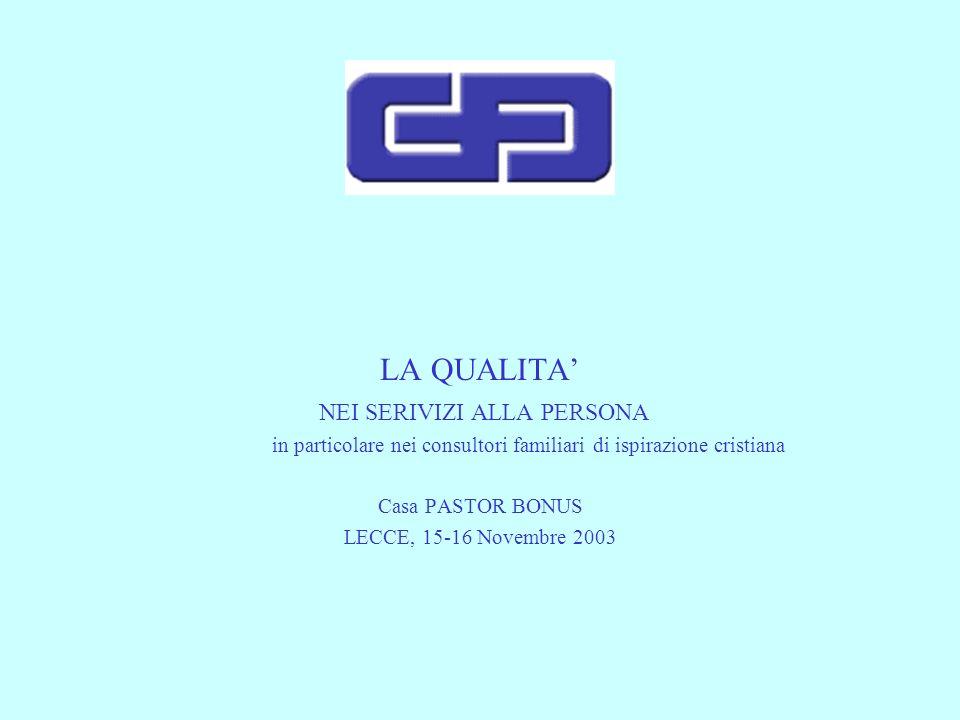 LA QUALITA NEI SERIVIZI ALLA PERSONA in particolare nei consultori familiari di ispirazione cristiana Casa PASTOR BONUS LECCE, 15-16 Novembre 2003