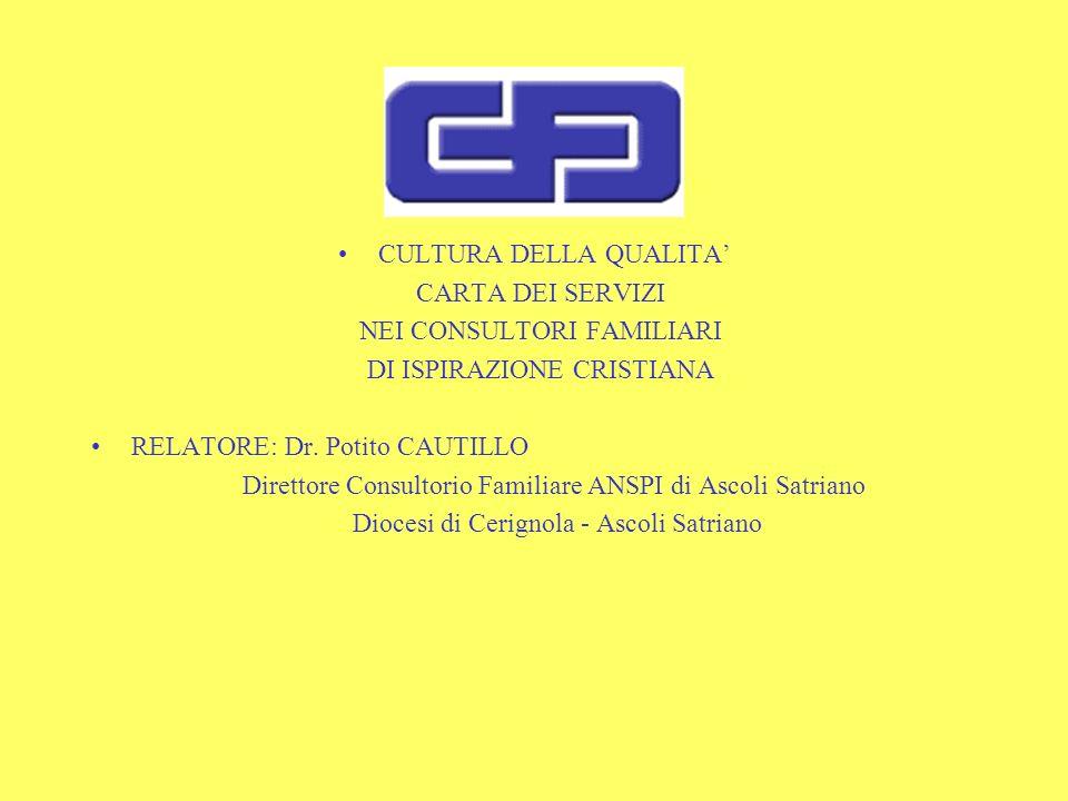CULTURA DELLA QUALITA CARTA DEI SERVIZI NEI CONSULTORI FAMILIARI DI ISPIRAZIONE CRISTIANA RELATORE: Dr.