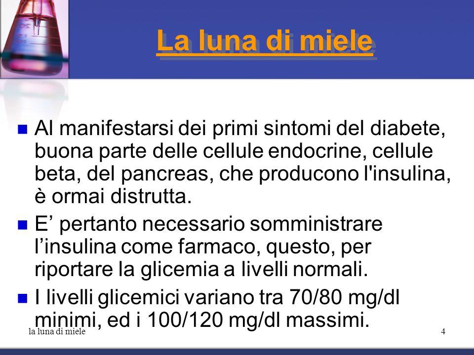 la luna di miele5 La luna di miele A questo punto, nei soggetti in cui si verifica la luna di miele le cellule rimaste ancora funzionanti, riprendono momentaneamente la produzione di insulina, consentendo al paziente una riduzione o, addirittura, una sospensione delle iniezioni di insulina.