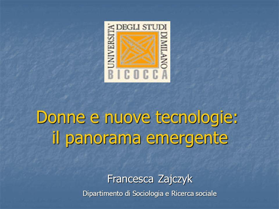 Francesca Zajczyk Francesca Zajczyk Dirigenti nei principali comparti della Pubblica Amministrazione UOMINIDONNE% DONNE AZIENDE AUTONOME (1999)209115,0% MINISTERI (2000)4.0921.44326,1% ENTI DI RICERCA (1999)4121170329.2% ENTI PUBBLICI NON ECONOMICI (2000) 1.05530222,3% Fonte: Ministero delleconomia e delle finanze, 2000
