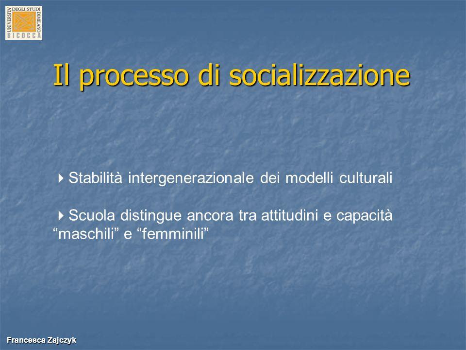Francesca Zajczyk Francesca Zajczyk Il processo di socializzazione Stabilità intergenerazionale dei modelli culturali Scuola distingue ancora tra atti