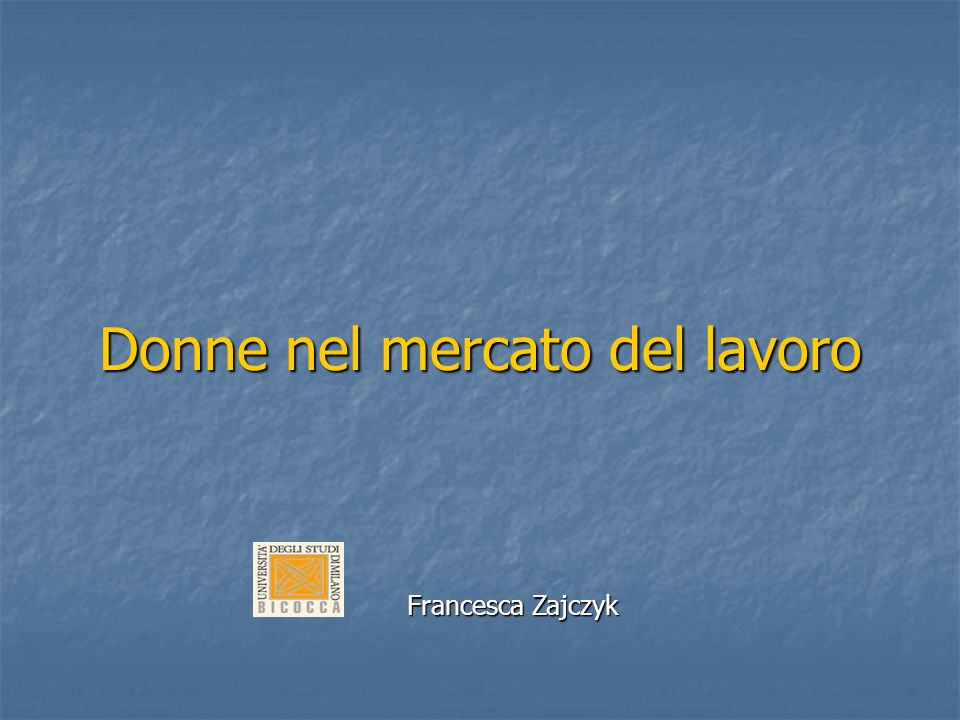 Francesca Zajczyk Francesca Zajczyk Dirigenti generali ed equiparati UominiDonneTotale% Donne INPS231244,2% INAIL293329,4% AUTOMOBIL CLUB D ITALIA1421612,5% ISTITUTO NAZIONALE DI PREVIDENZA PER I DIPENDENTI DELL AMMINISTRAZIONE PUBBLICA 821020,0% ALTRI ENTI PUBBLICI NON ECONOMICI 1762326,1% Fonte: Ministero delleconomia e delle finanze, 1999